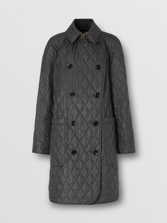 Diamond Quilted Double-breasted Coat in Black