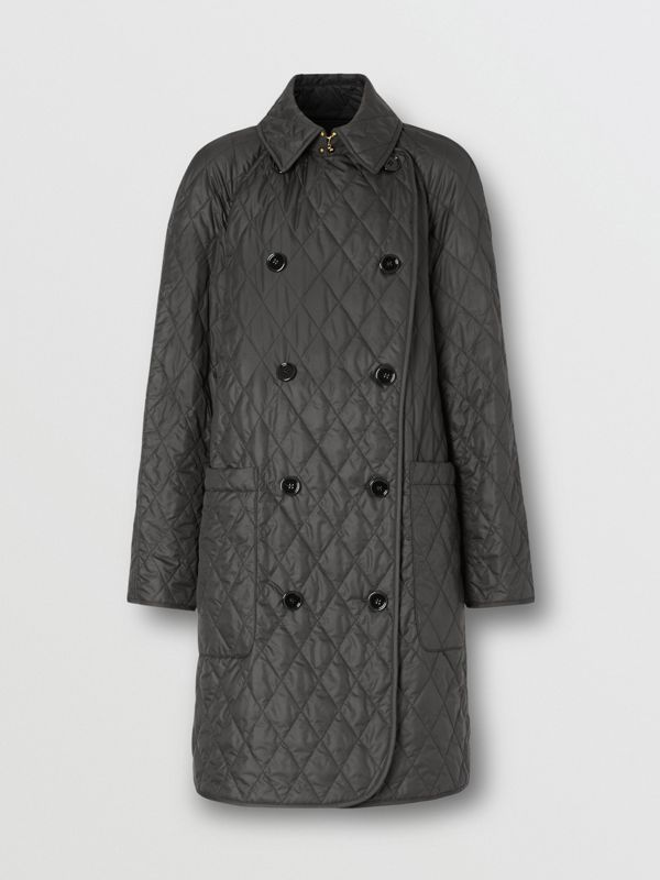 Diamond Quilted Double-breasted Coat in Black - Women | Burberry United Kingdom - cell image 3