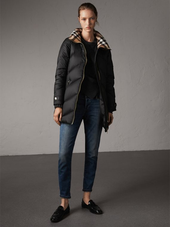 Chevron-quilted Down-filled Coat in Black