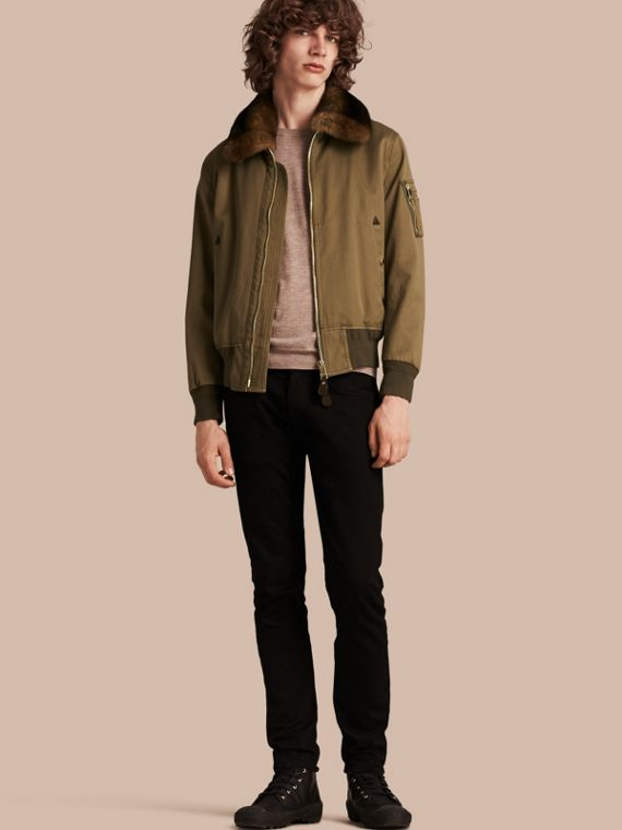 Cotton Bomber Jacket with Detachable Fur-lined Warmer