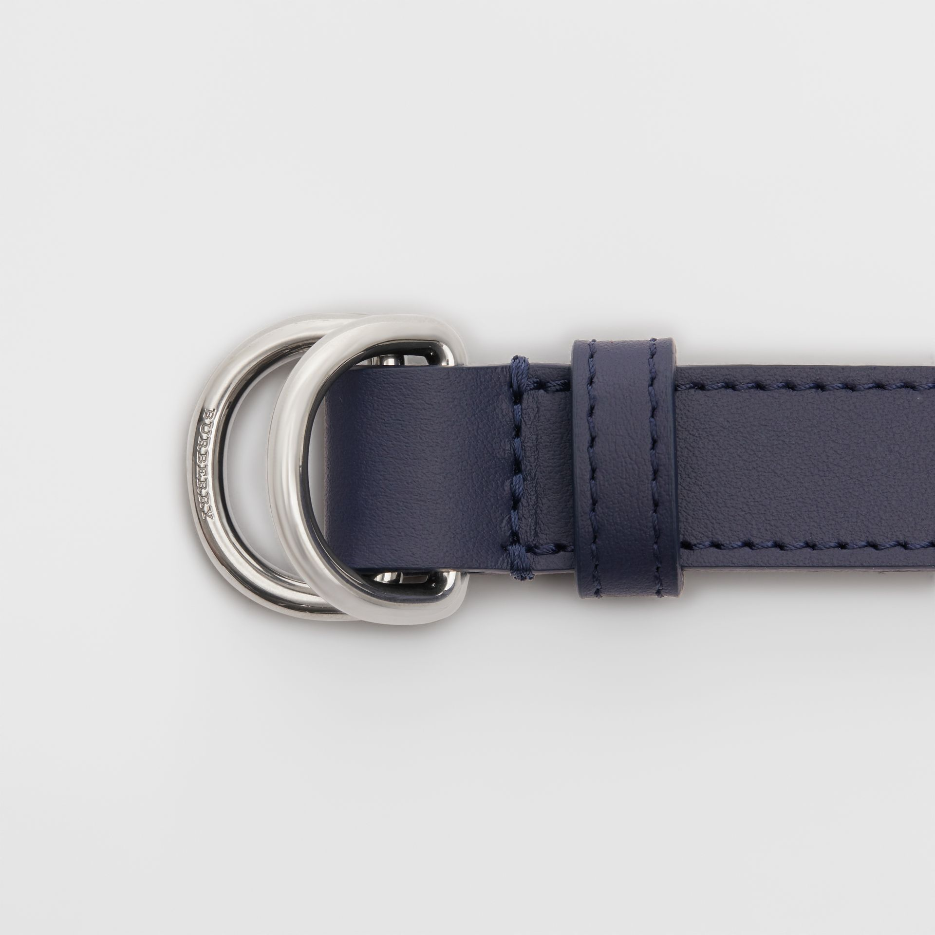 Slim Leather Double D-ring Belt in Regency Blue - Women | Burberry - gallery image 1