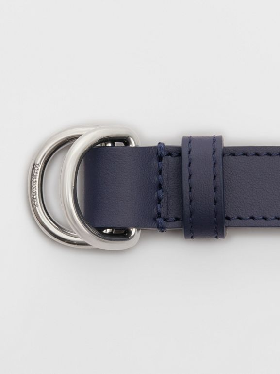Slim Leather Double D-ring Belt in Regency Blue - Women | Burberry - cell image 1