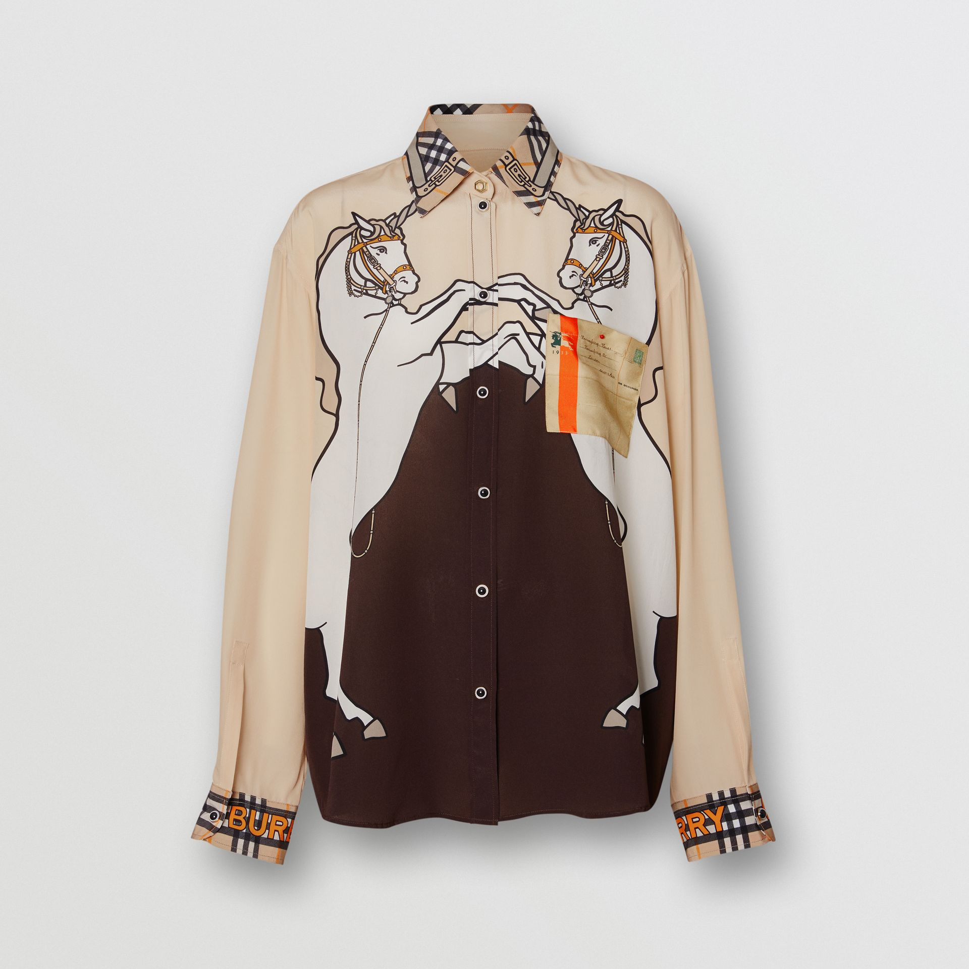 Unicorn Print Silk Shirt in Light Camel - Women | Burberry - gallery image 3