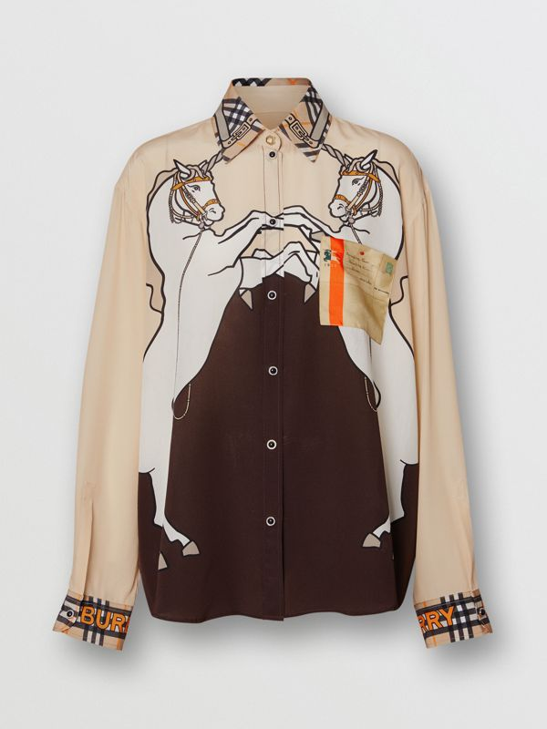 Unicorn Print Silk Shirt in Light Camel - Women | Burberry - cell image 3
