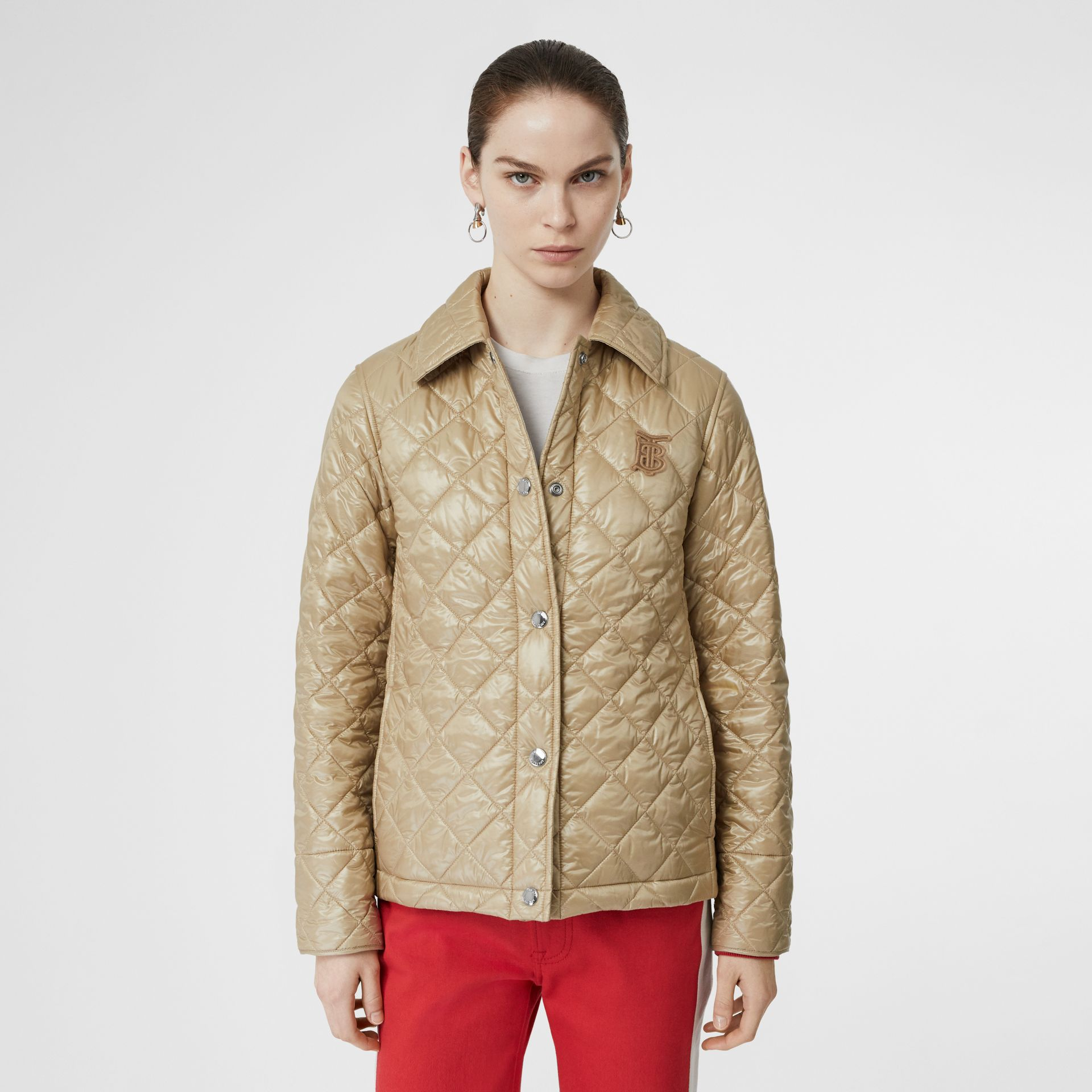 Monogram Motif Diamond Quilted Jacket in Honey - Women | Burberry United States - gallery image 5