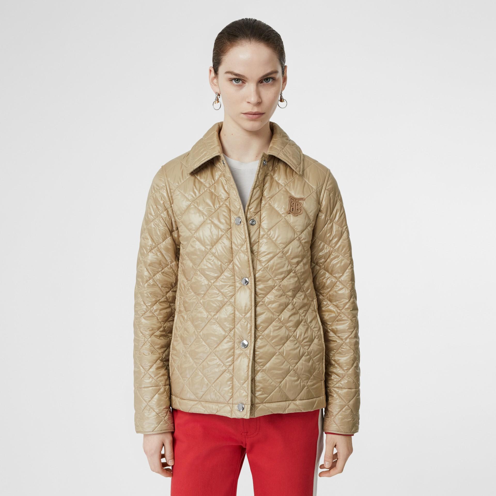 Monogram Motif Diamond Quilted Jacket in Honey - Women | Burberry Hong Kong - gallery image 5