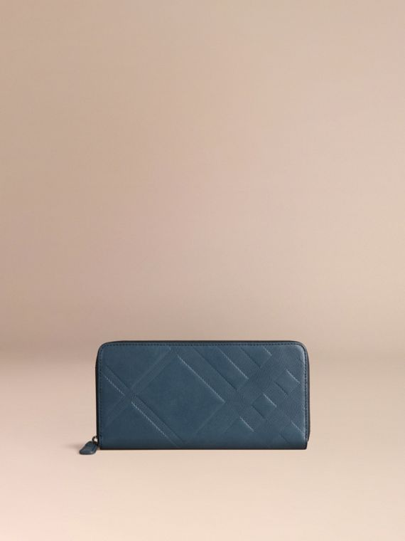 Steel blue Check-embossed Leather Ziparound Wallet Steel Blue - cell image 2