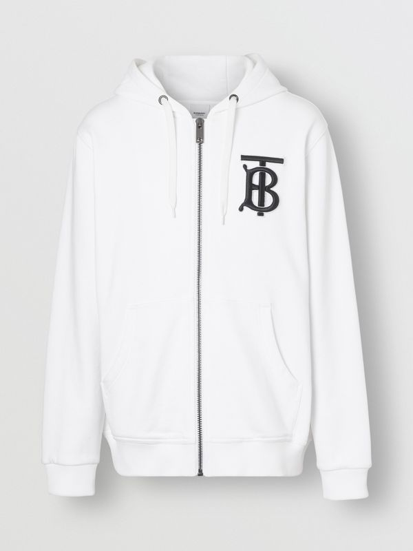 Monogram Motif Cotton Hooded Top in White - Men | Burberry - cell image 3