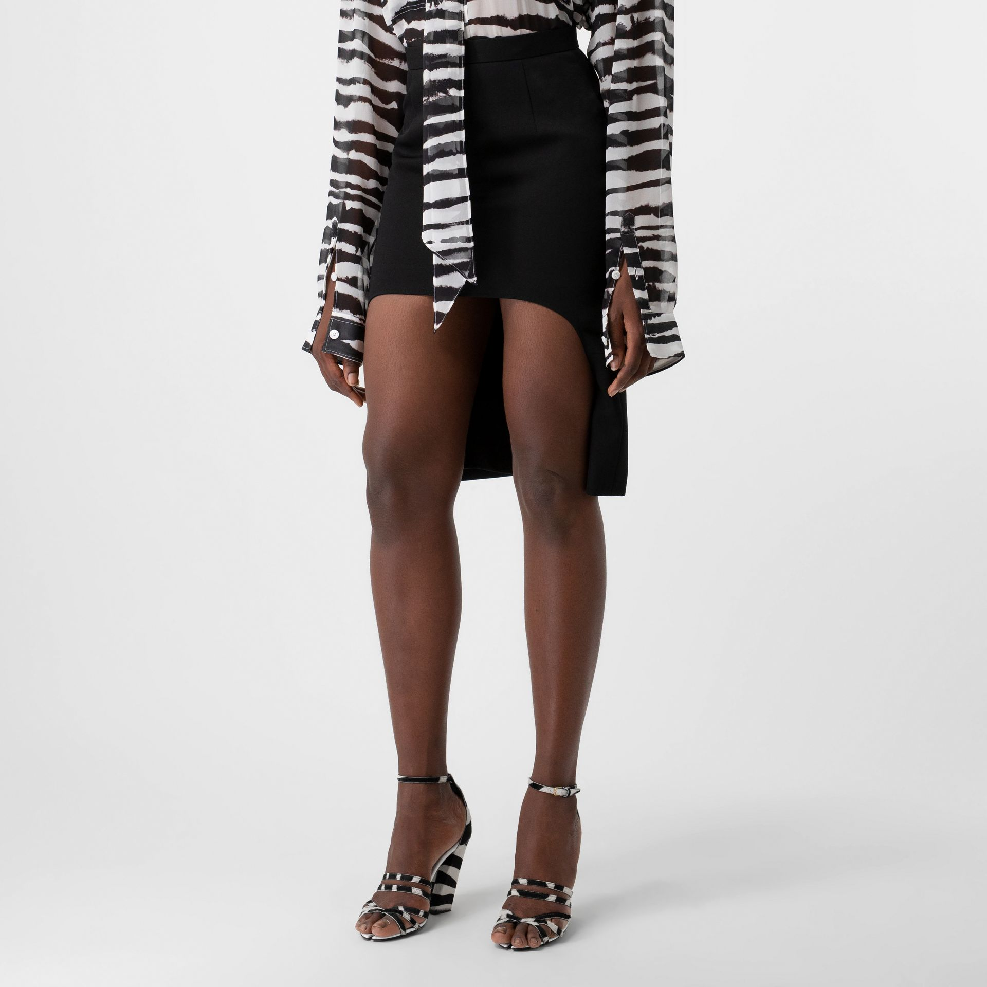 Cotton Jersey Step-through Pencil Skirt in Black - Women | Burberry - gallery image 3