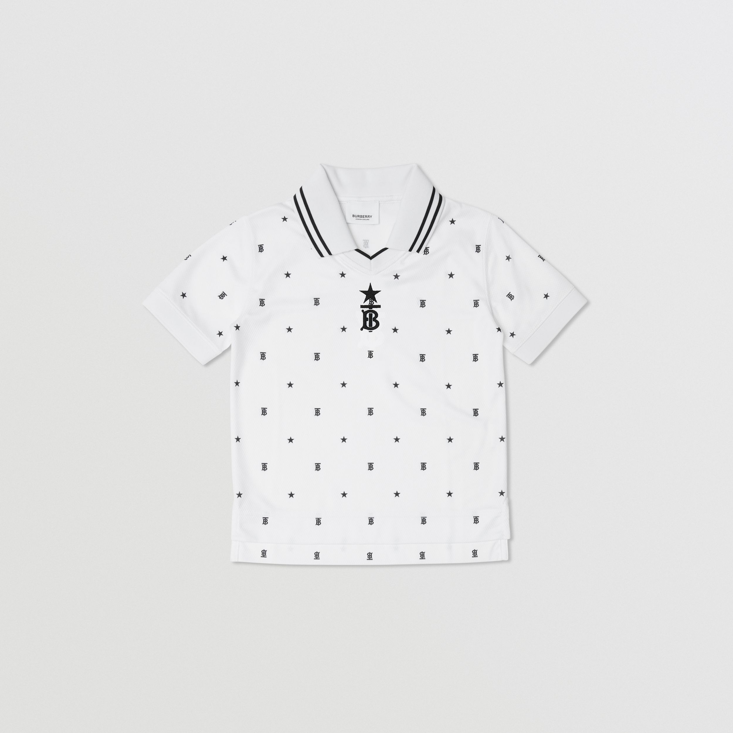 Star and Monogram Motif Jersey Mesh Polo Shirt in Black | Burberry - 1