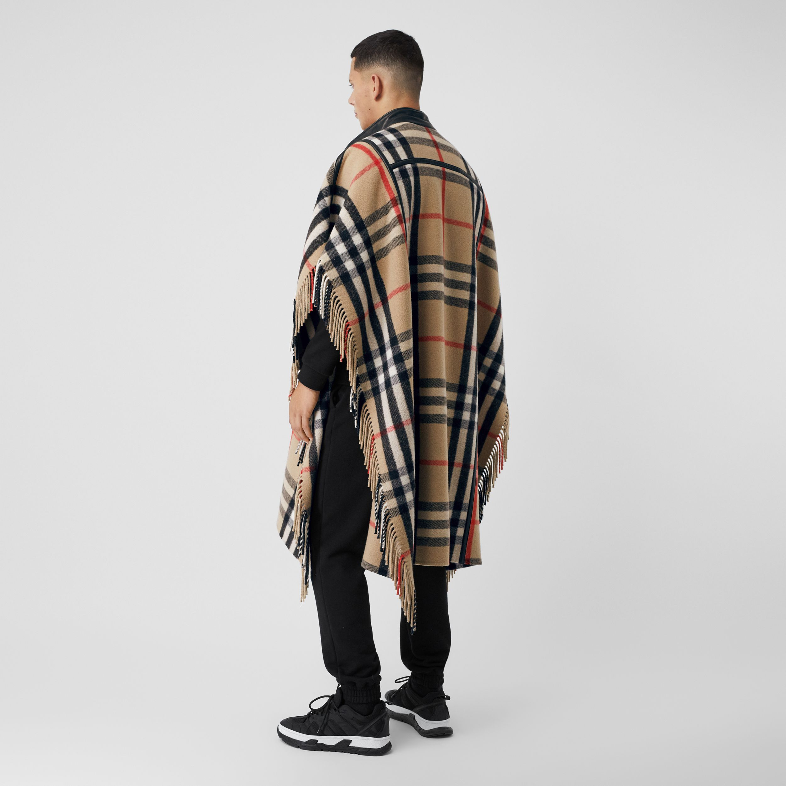 Check Wool Blend Zip-front Cape in Archive Beige | Burberry - 3