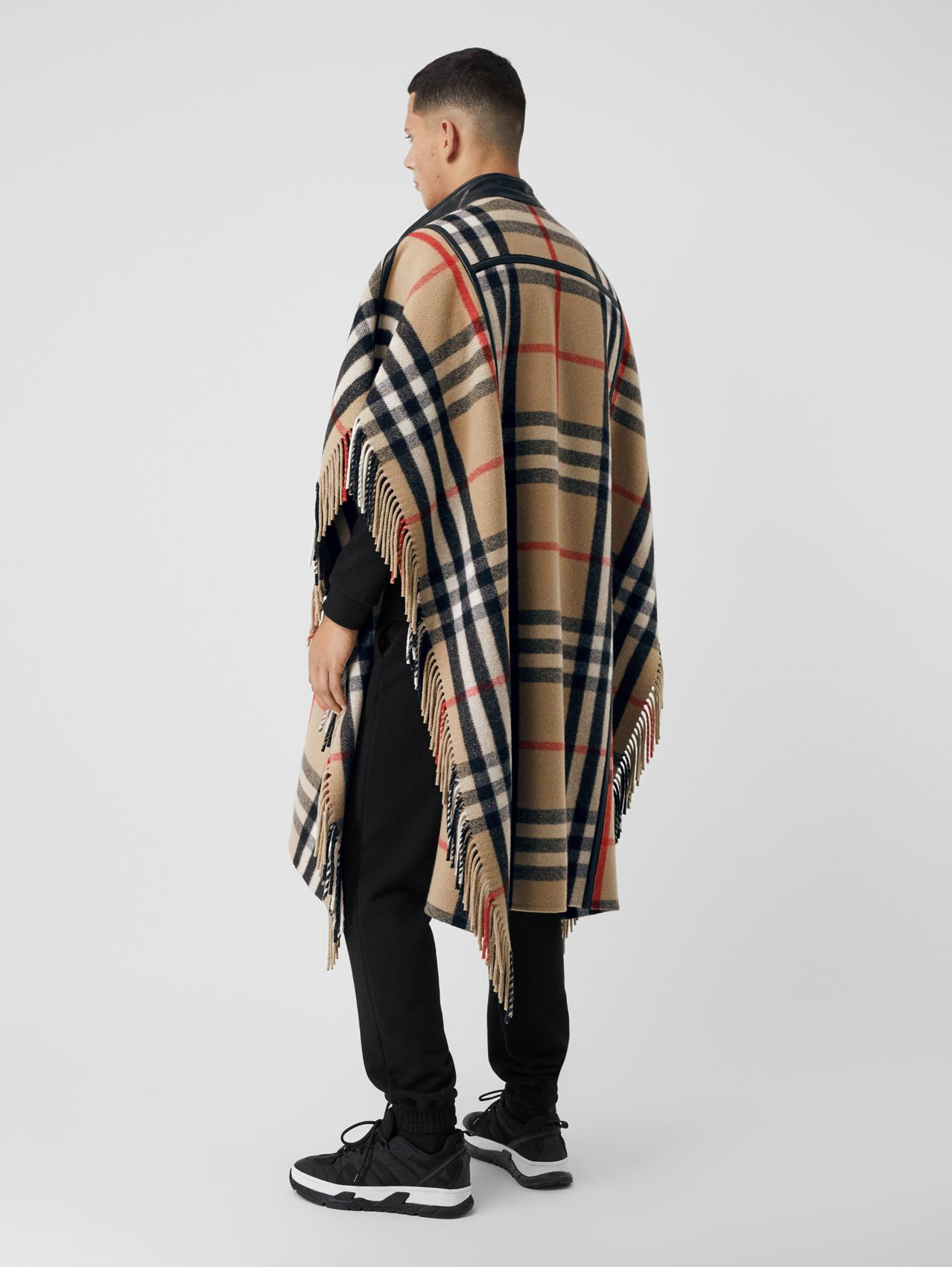 Check Wool Blend Zip-front Cape in Archive Beige