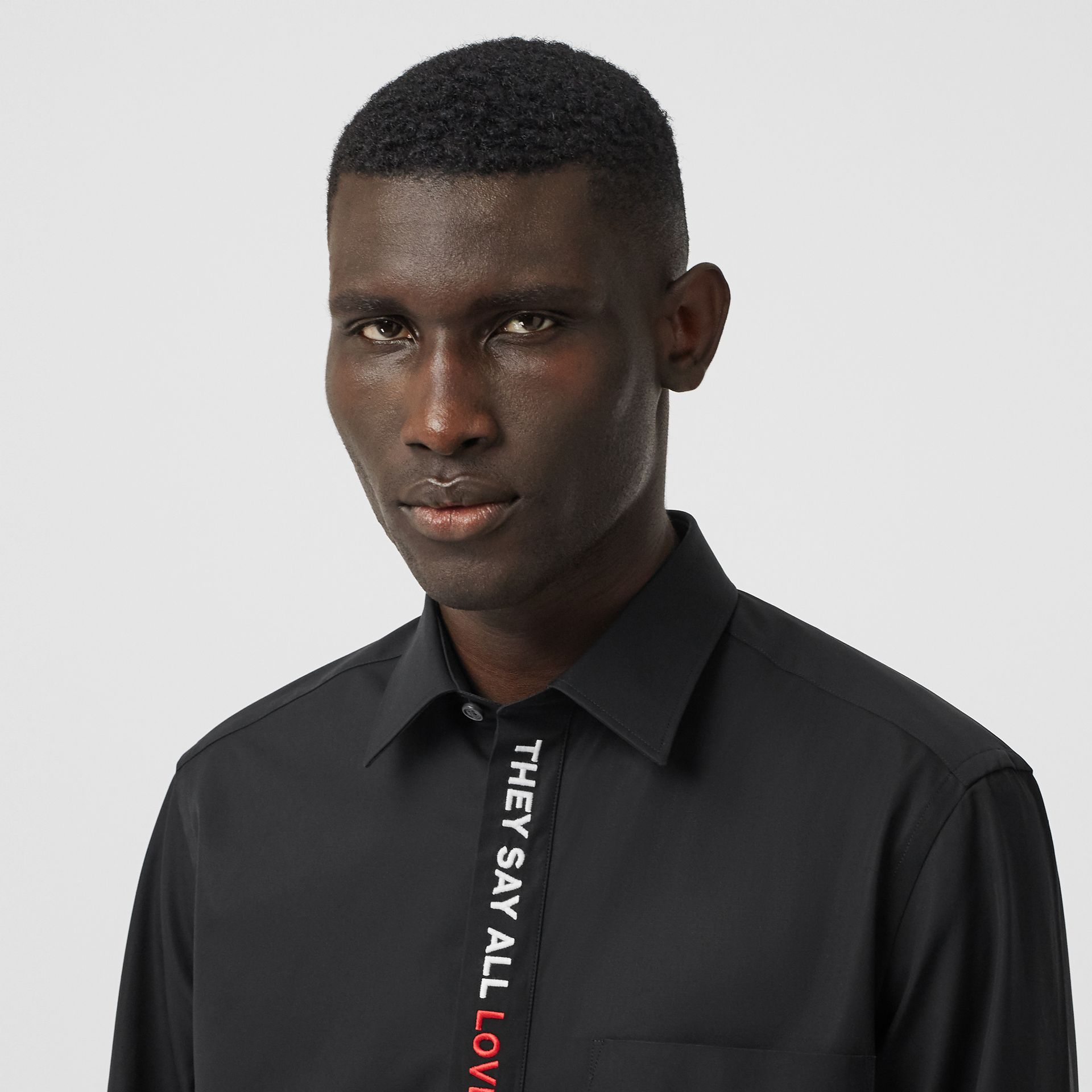 Classic Fit Quote Detail Cotton Oxford Shirt in Black - Men | Burberry - gallery image 1