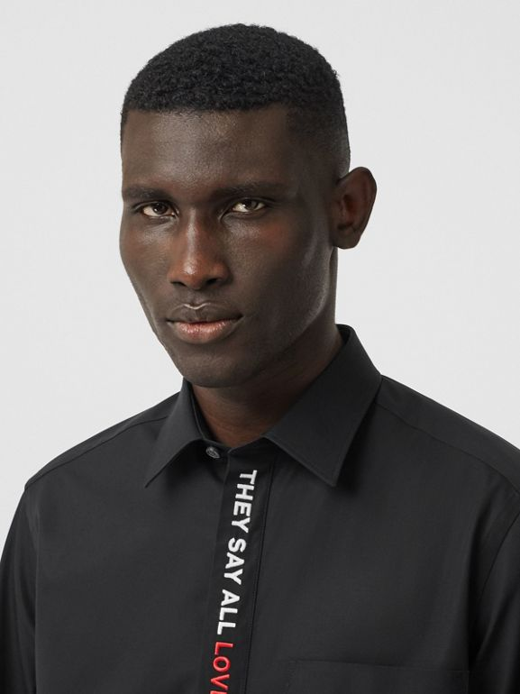 Classic Fit Quote Detail Cotton Oxford Shirt in Black - Men | Burberry - cell image 1