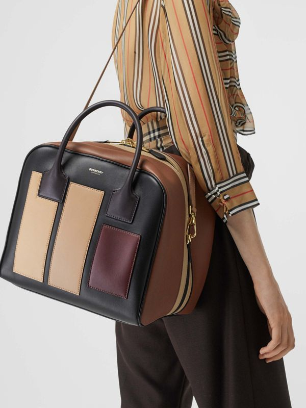 Medium Panelled Leather Cube Bag in Black - Women | Burberry - cell image 2