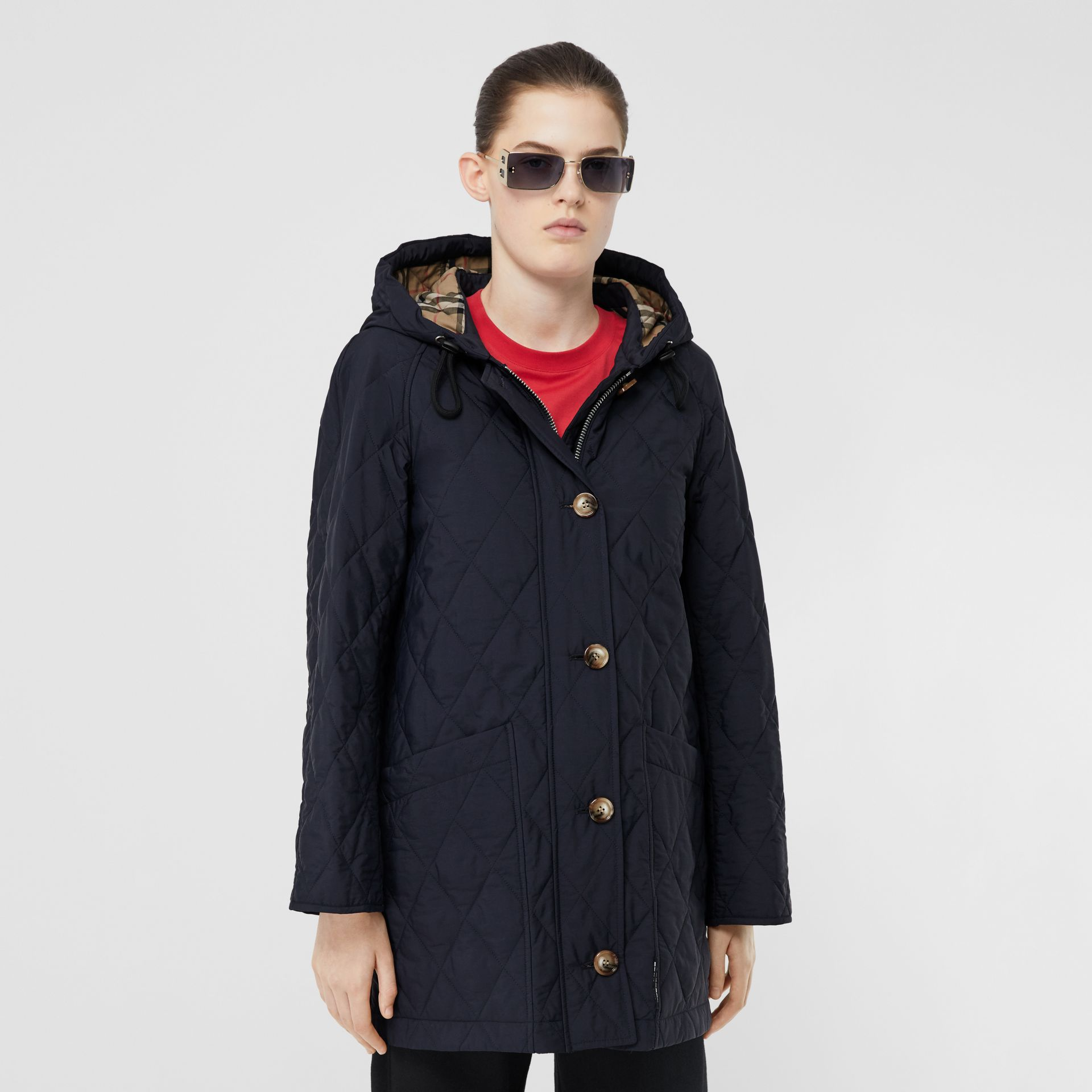 Diamond Quilted Thermoregulated Hooded Coat in Navy - Women | Burberry - gallery image 5