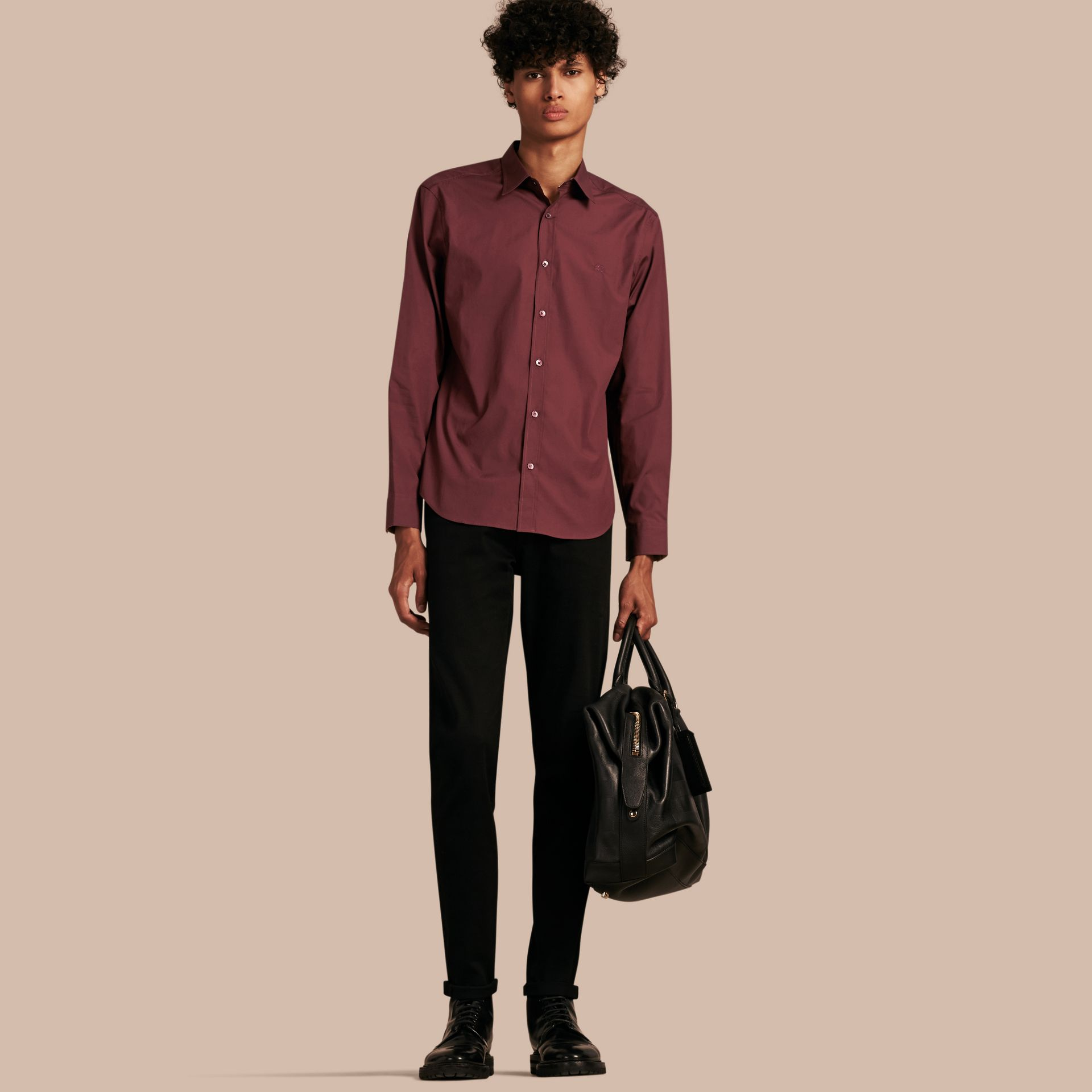 Oxblood Check Detail Stretch Cotton Poplin Shirt Oxblood - gallery image 1