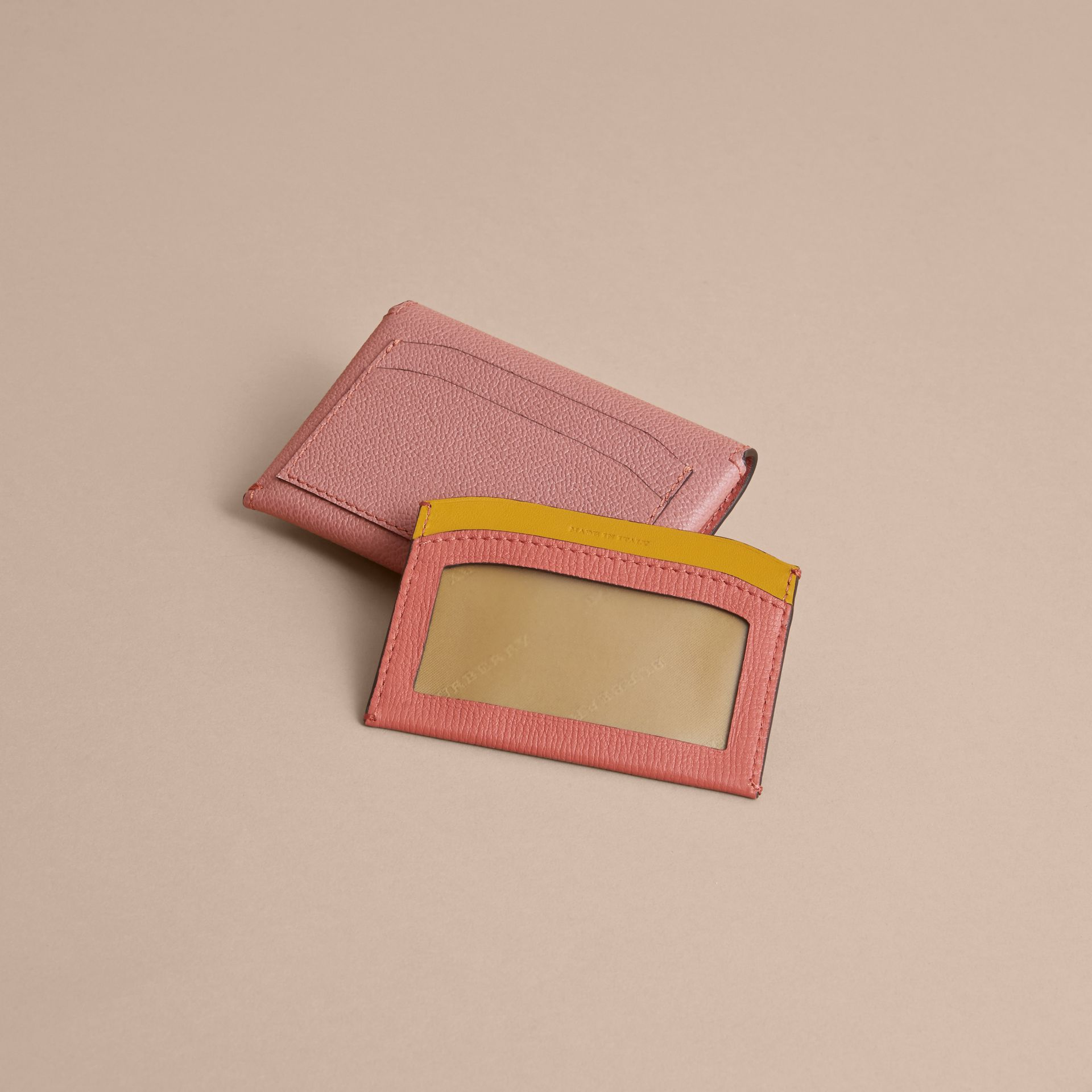 Leather Coin Case with Removable Card Compartment in Dusty Pink/multi - Women | Burberry United Kingdom - gallery image 1