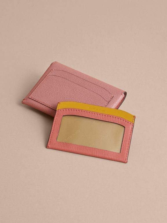 Leather Coin Case with Removable Card Compartment in Dusty Pink/multi - Women | Burberry - cell image 1