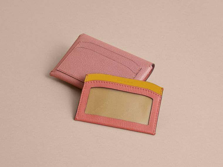 Leather Coin Case with Removable Card Compartment in Dusty Pink/multi - Women | Burberry United Kingdom - cell image 1