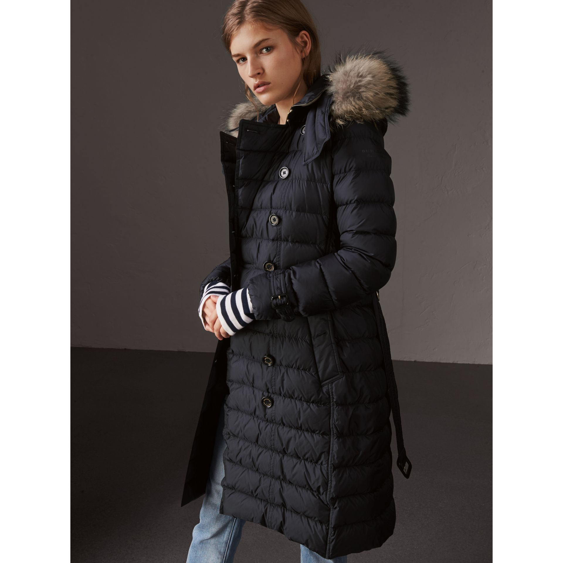 Detachable Hood Fur Trim Down-filled Puffer Coat in Navy - Women | Burberry - gallery image 6