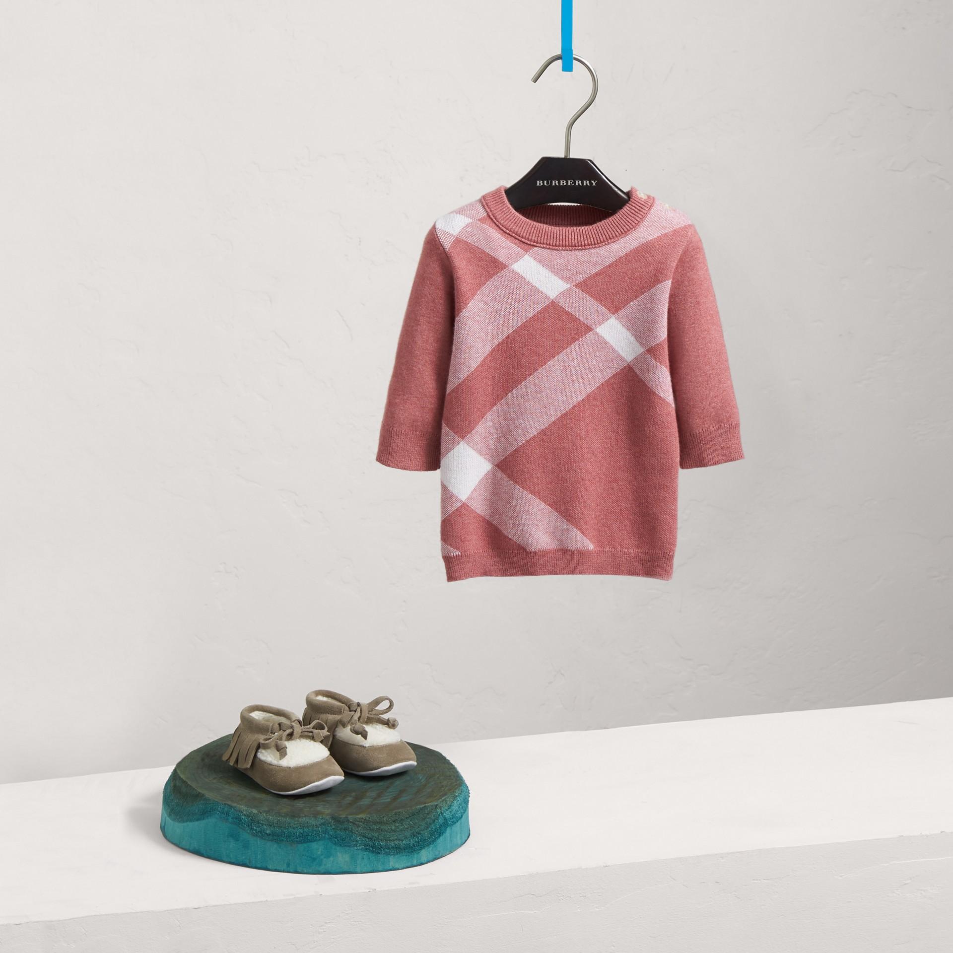 Vestido de algodão e cashmere com estampa xadrez (Rosa Malva) | Burberry - galeria de imagens 0