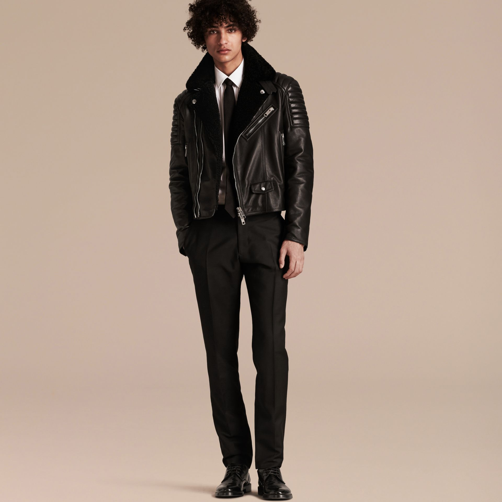 Black Shearling-lined Leather Biker Jacket - gallery image 7