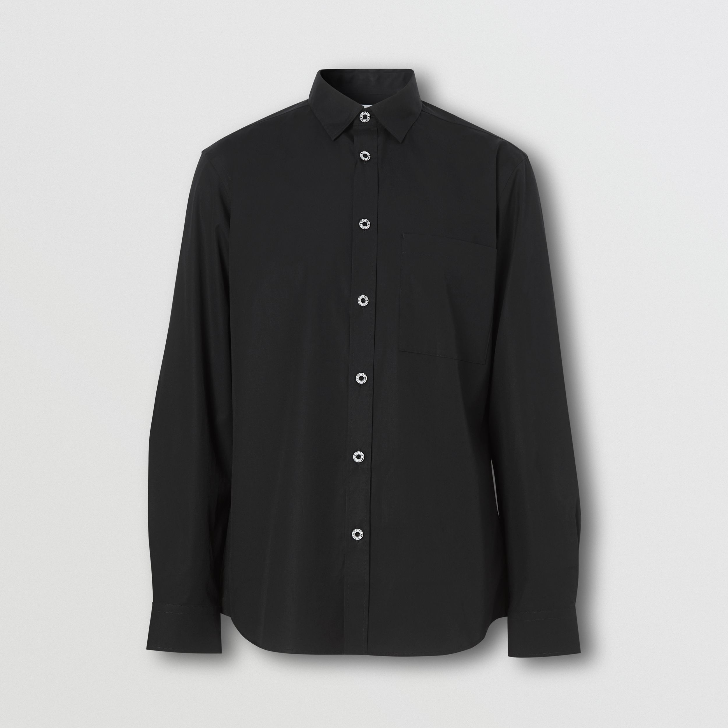 Slim Fit Stretch Cotton Poplin Shirt in Black - Men | Burberry - 4