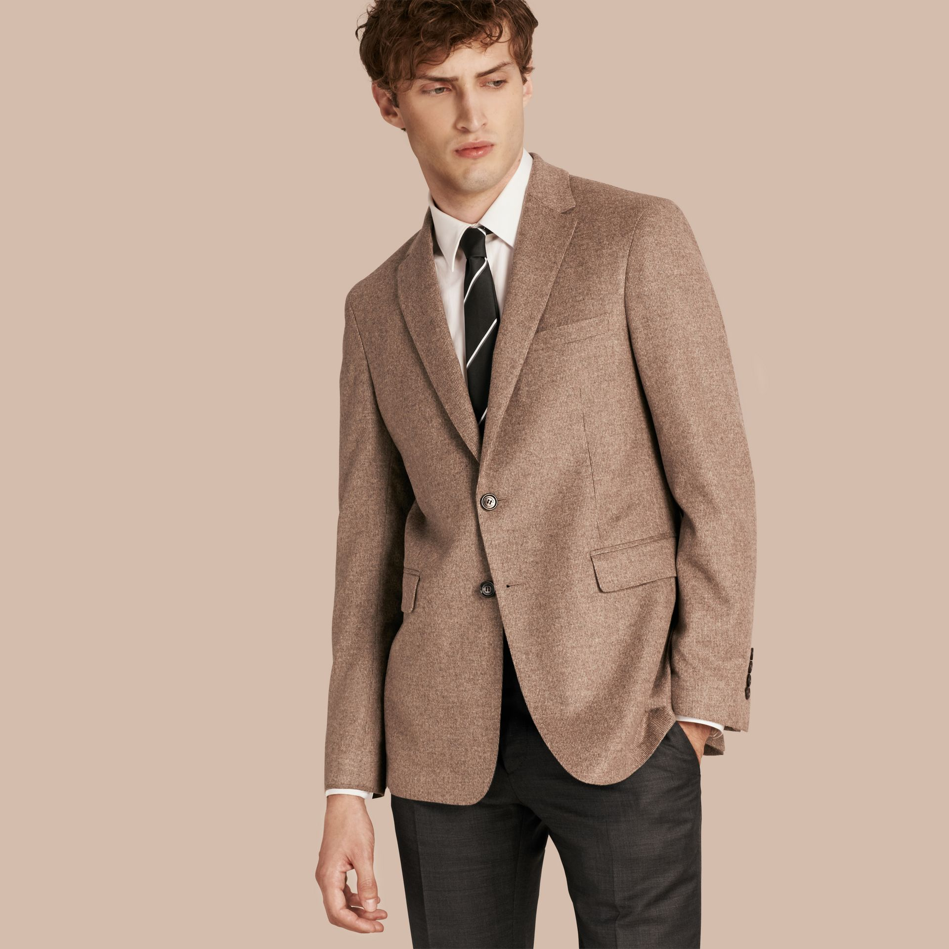 Camel Modern Fit Wool Cashmere Silk Tailored Jacket - gallery image 1