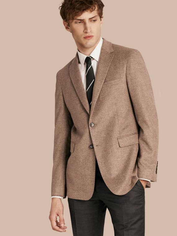 現代剪裁羊毛喀什米爾絲綢合身外套