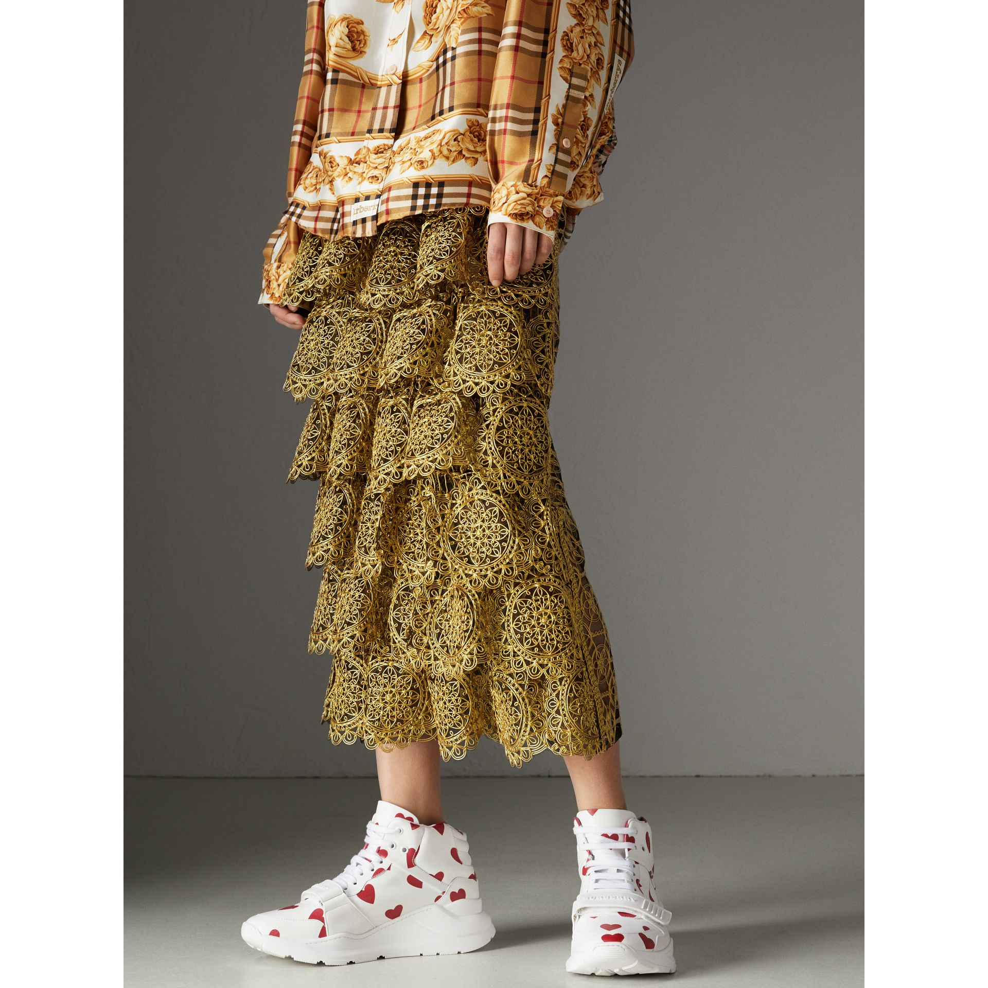 Tiered Silicone Lace Skirt in Gold - Women | Burberry Singapore - gallery image 5
