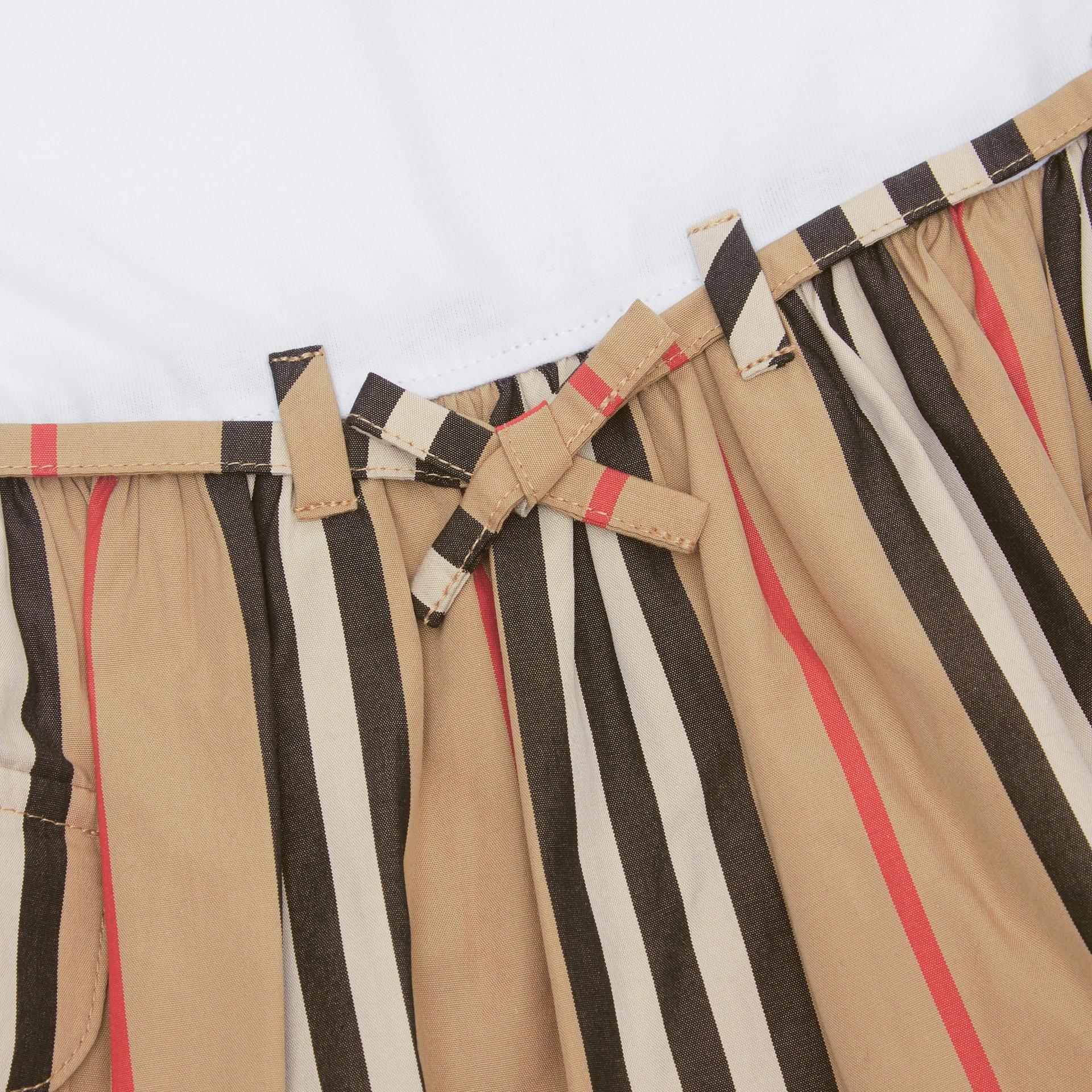 Icon Stripe Cotton Dress in White/archive Beige - Children | Burberry - gallery image 1