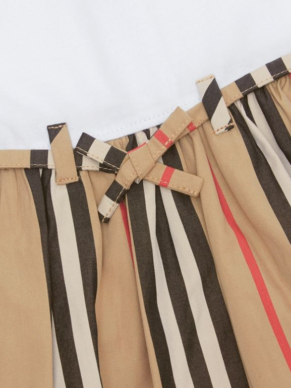 Icon Stripe Cotton Dress in White/archive Beige - Children | Burberry - cell image 1