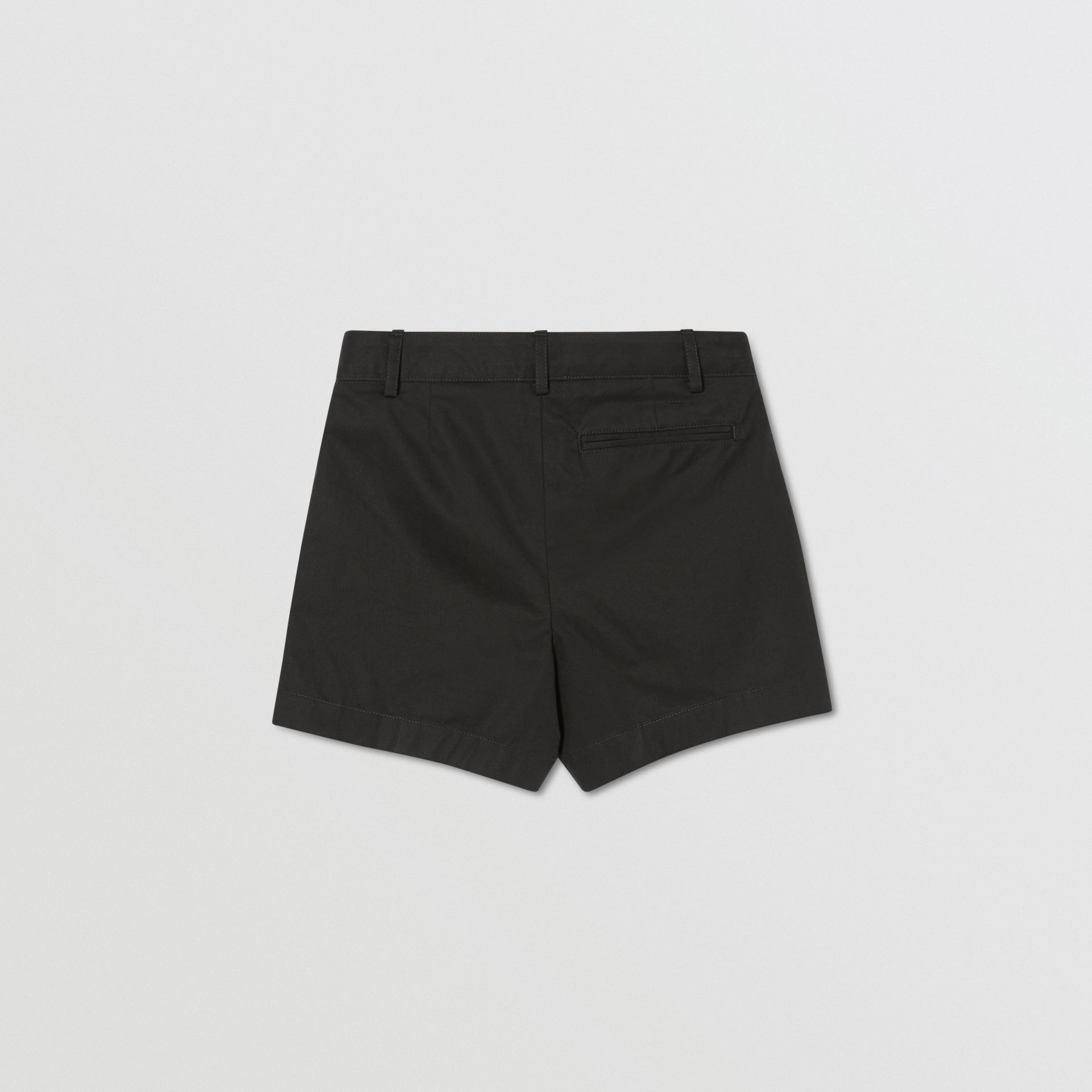 Logo Appliqué Cotton Twill Tailored Shorts in Black | Burberry - gallery image 2