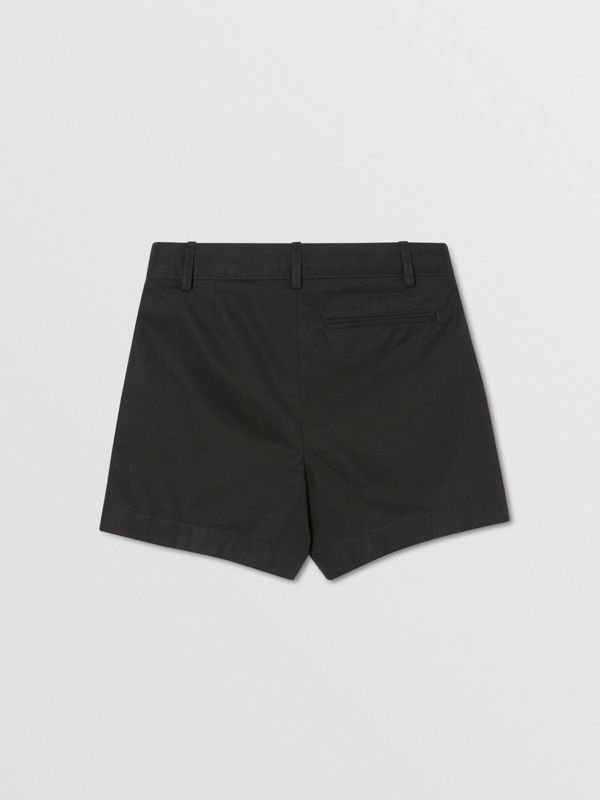 Logo Appliqué Cotton Twill Tailored Shorts in Black | Burberry - cell image 2