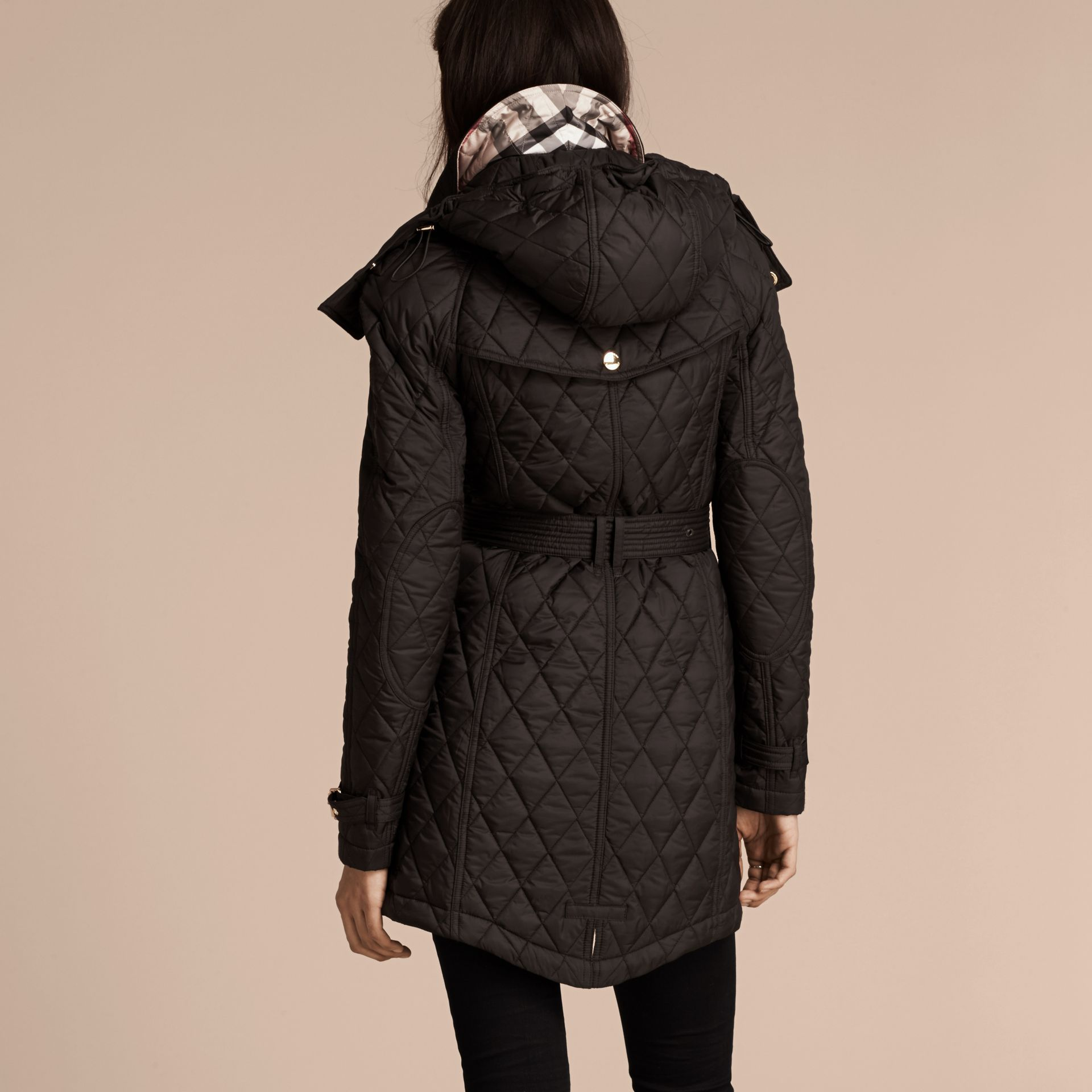Diamond Quilted Showerproof Parka - gallery image 3