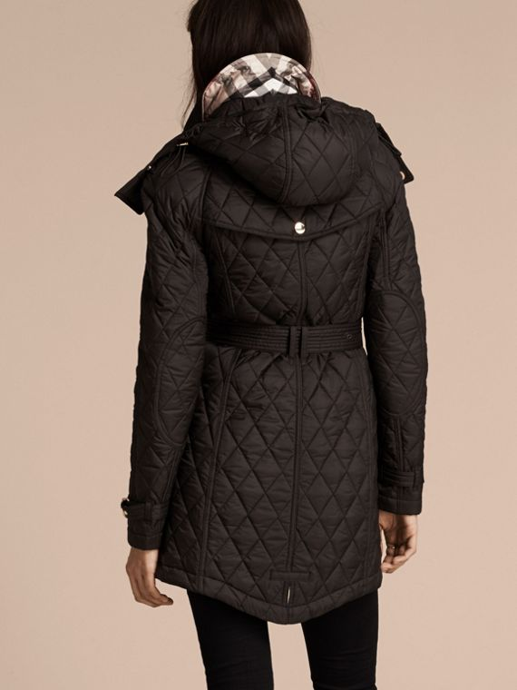 Diamond Quilted Showerproof Parka - cell image 2