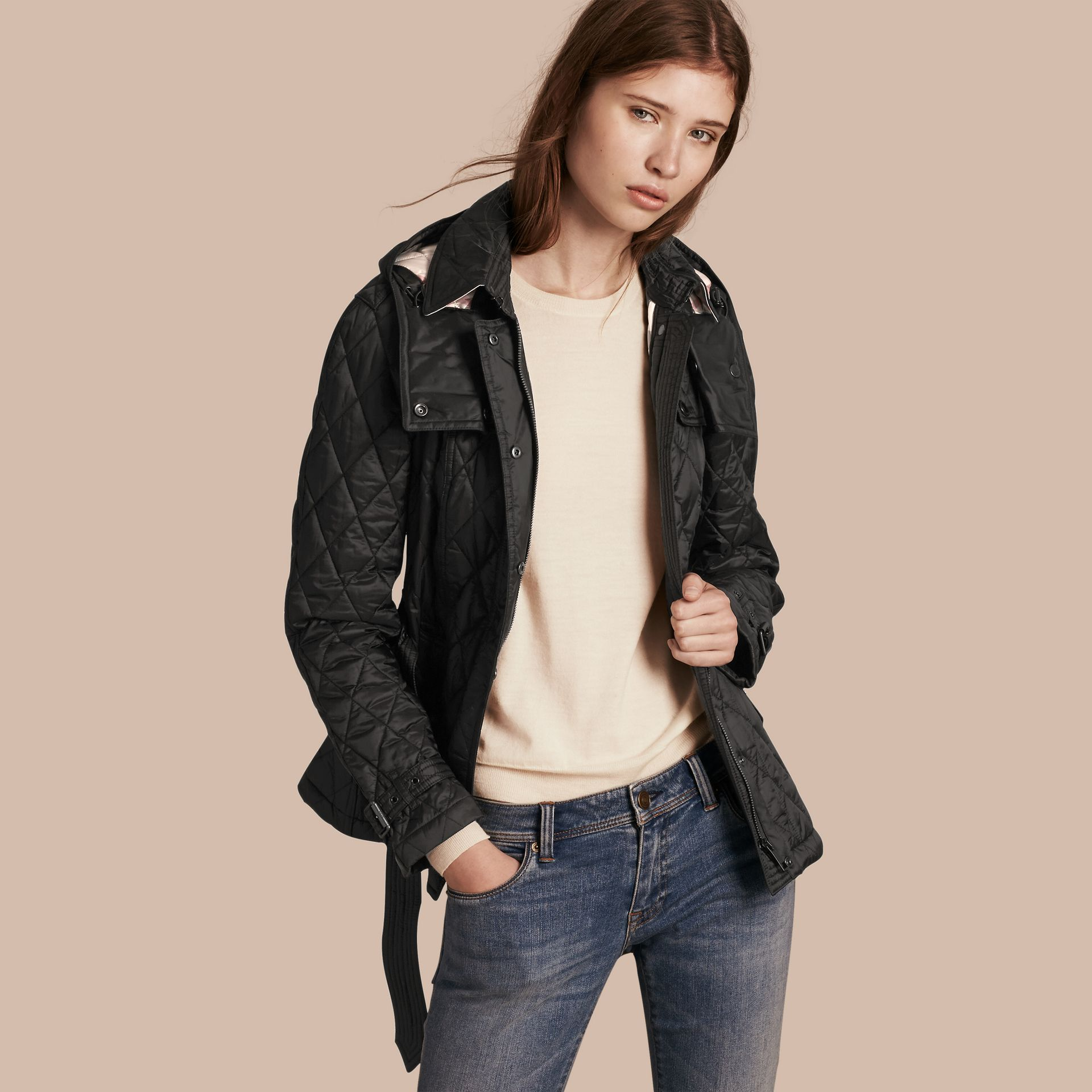 Quilted Trench Jacket with Detachable Hood in Black - gallery image 1