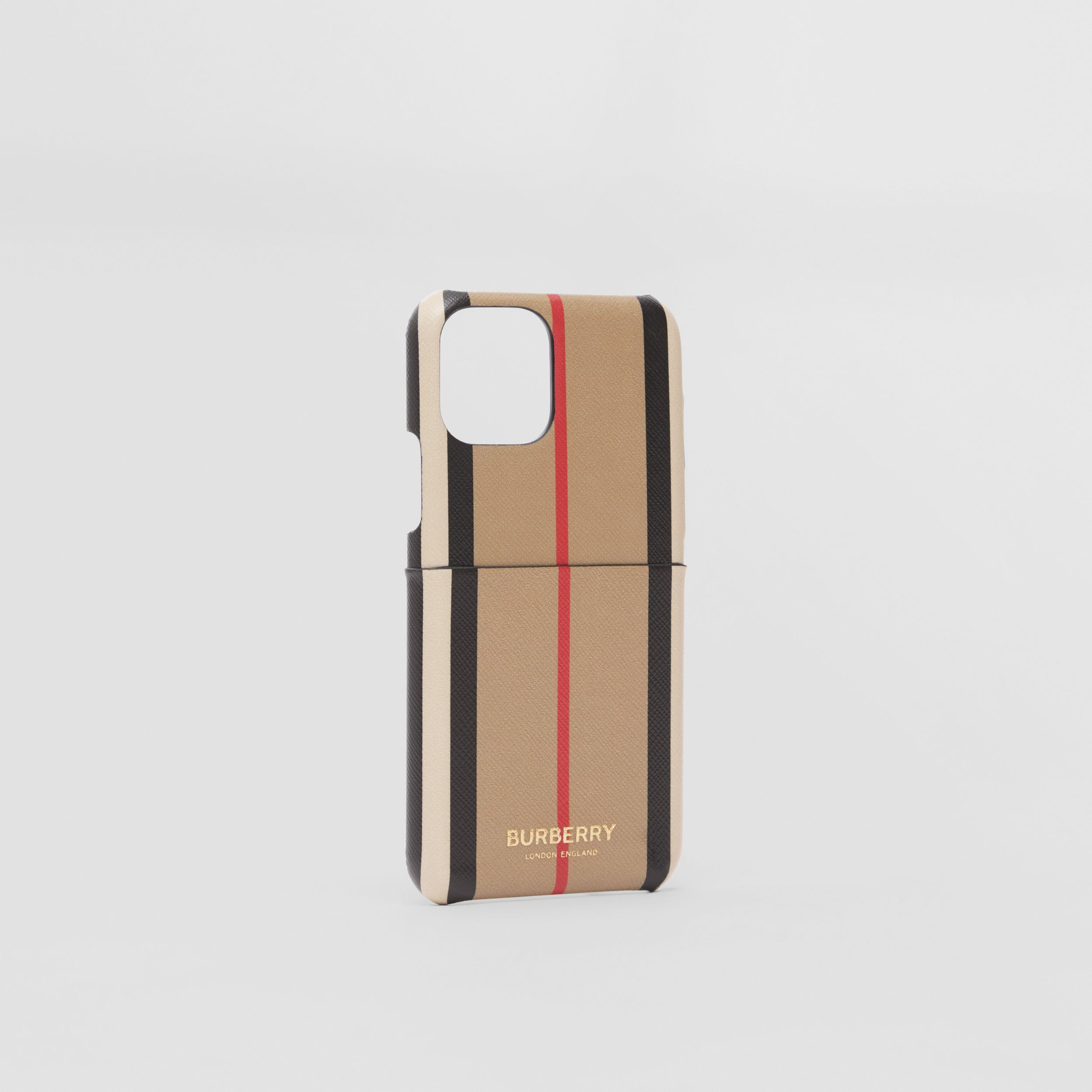 Custodia per iPhone 11 Pro in e-canvas con iconico motivo a righe (Beige Archivio) | Burberry - 3