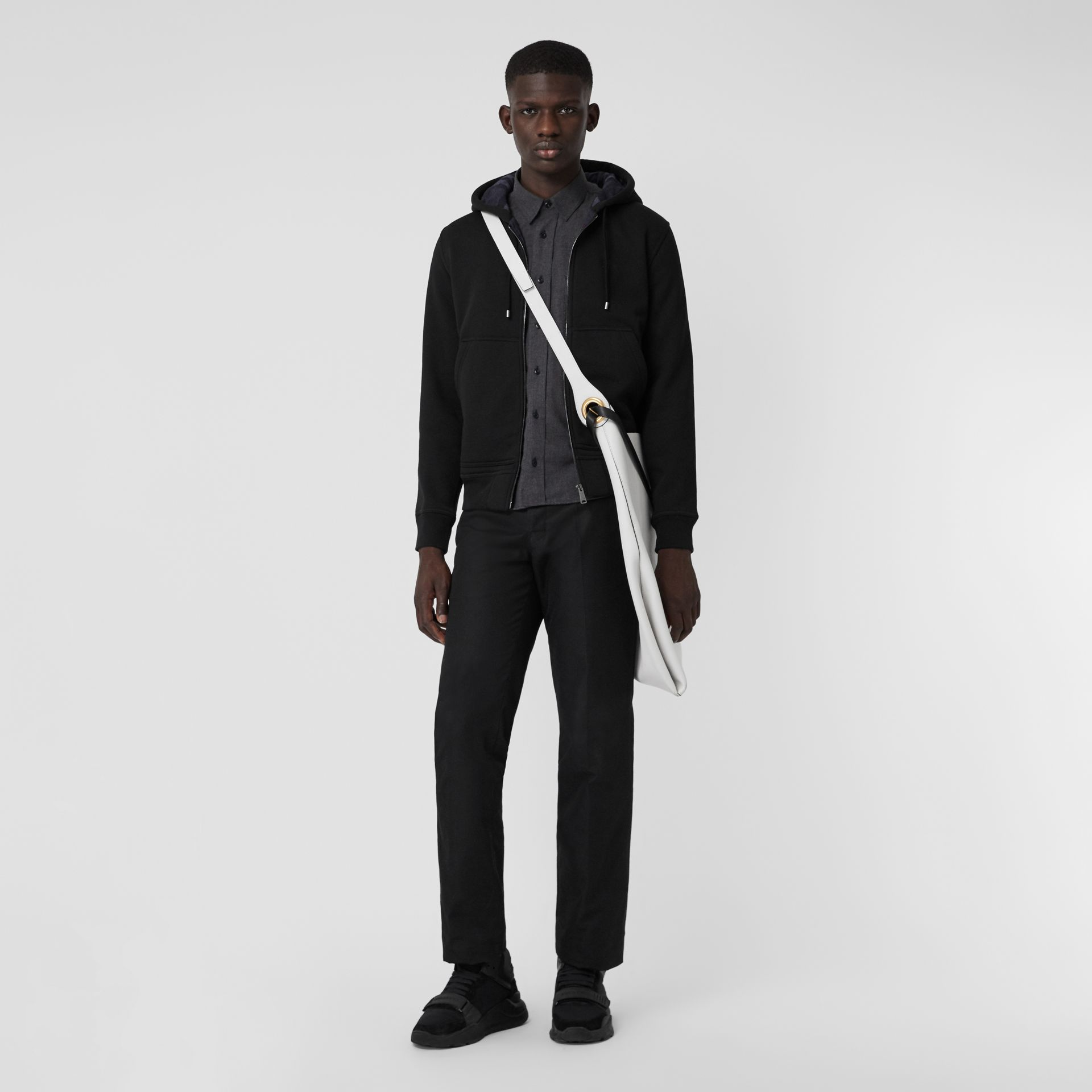 Check Detail Jersey Hooded Top in Black - Men | Burberry United Kingdom - gallery image 4