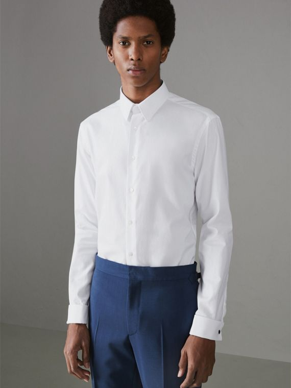 Modern Fit Double Cuff Cotton Shirt in White