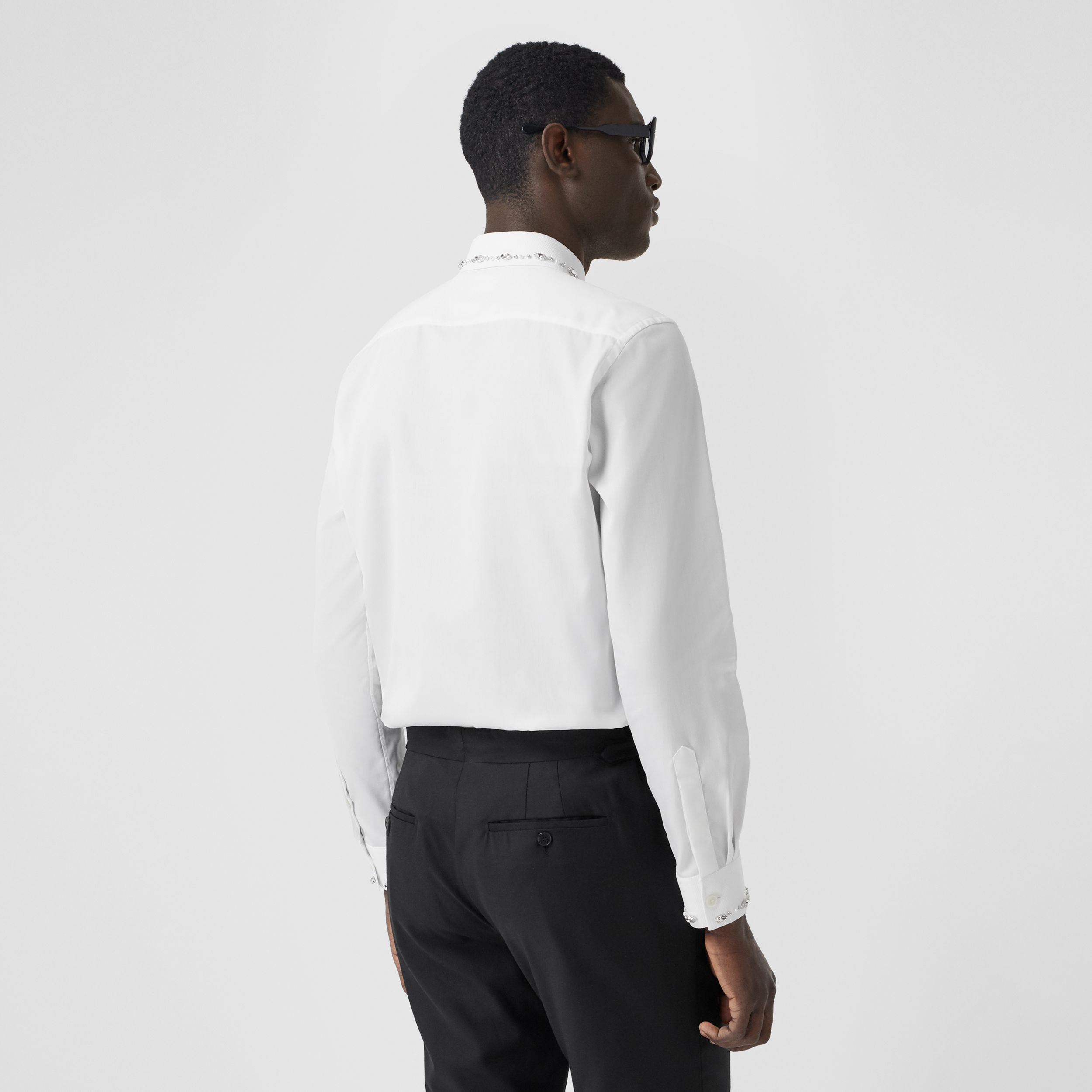 Slim Fit Embellished Cotton Poplin Shirt in White - Men | Burberry - 3
