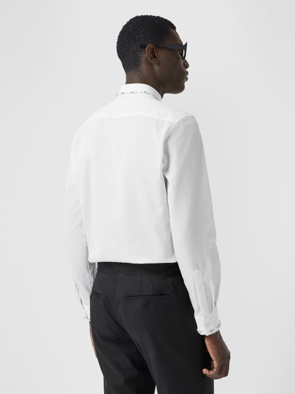 Slim Fit Embellished Cotton Poplin Shirt in White - Men | Burberry Hong Kong S.A.R - cell image 2