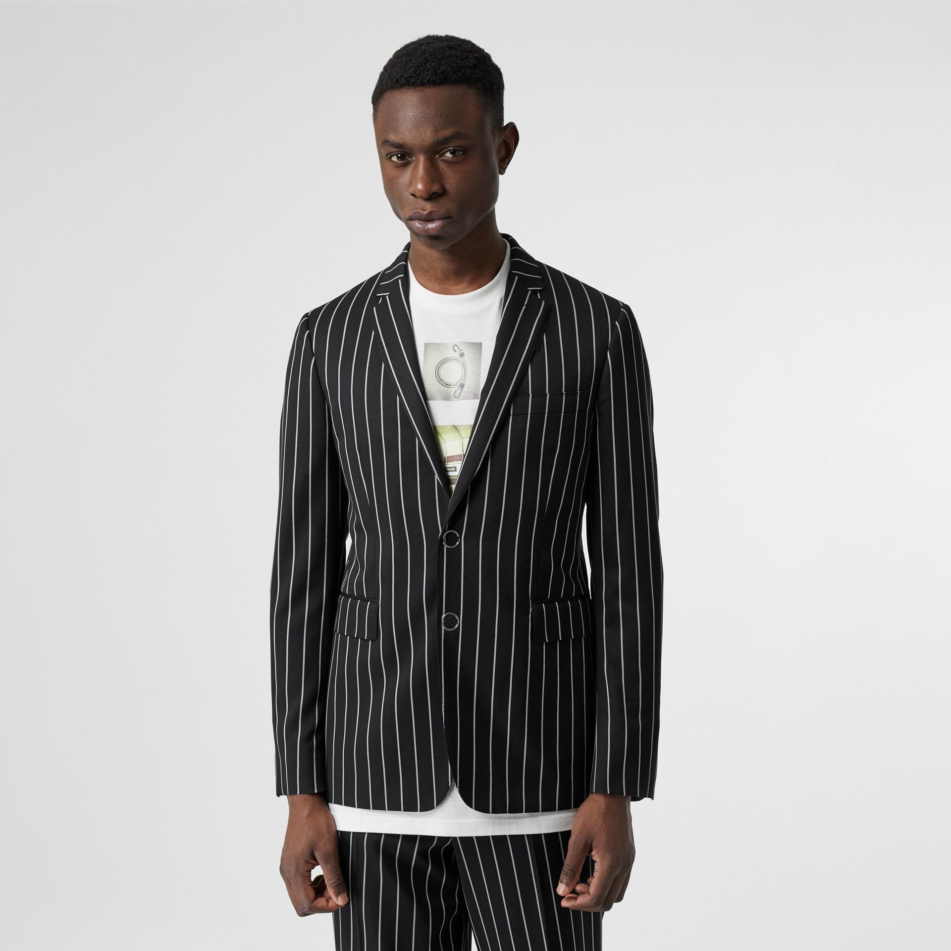 Slim Fit Press-stud Pinstriped Wool Tailored Jacket in Black - Men | Burberry - gallery image 0