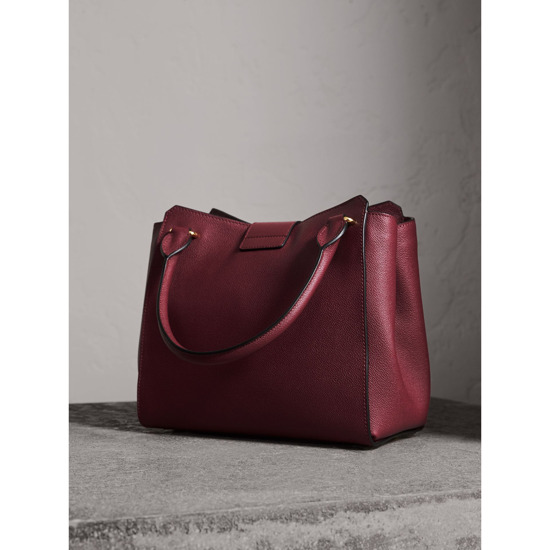 The Medium Buckle Tote in Grainy Leather in Dark Plum - gallery image 3