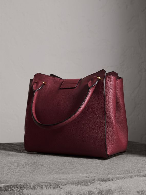 The Medium Buckle Tote in Grainy Leather in Dark Plum - cell image 2