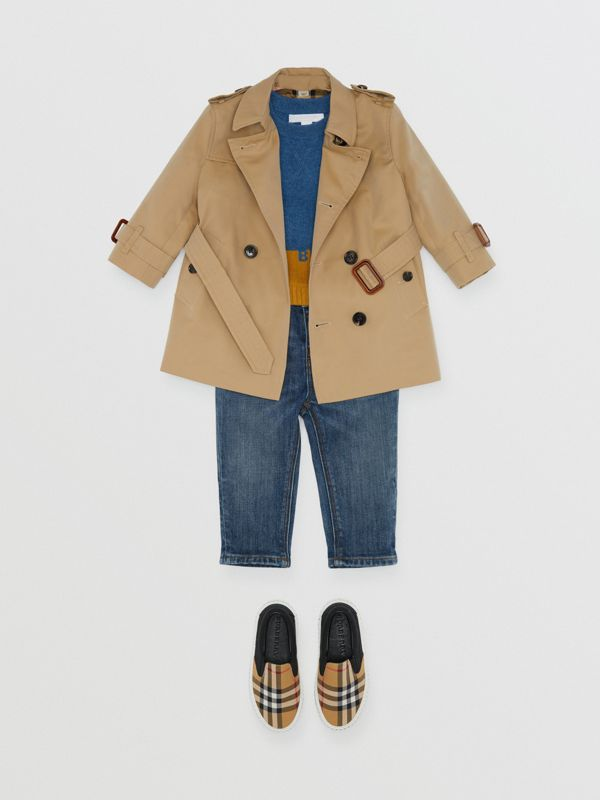 Cotton Gabardine Trench Coat in Honey - Children | Burberry Australia - cell image 2