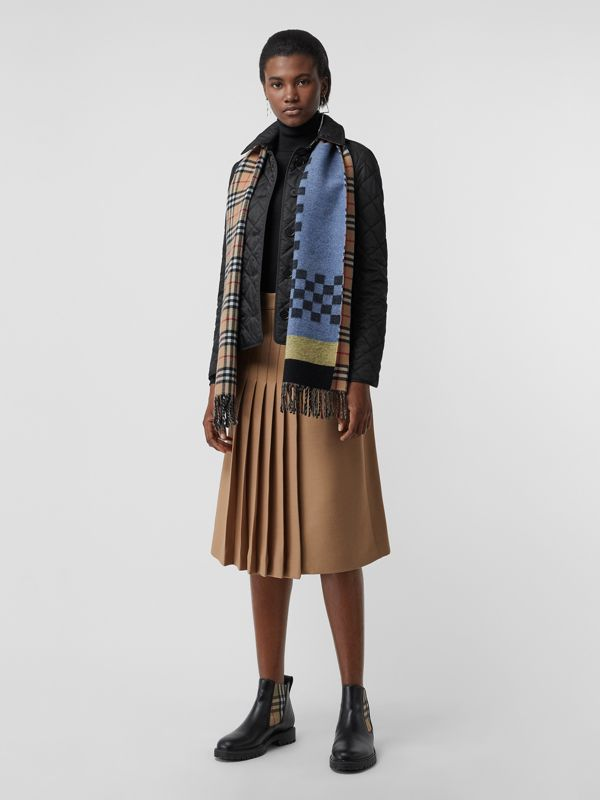 Vintage Check Colour Block Wool Cashmere Scarf in Antique Yellow | Burberry Canada - cell image 2