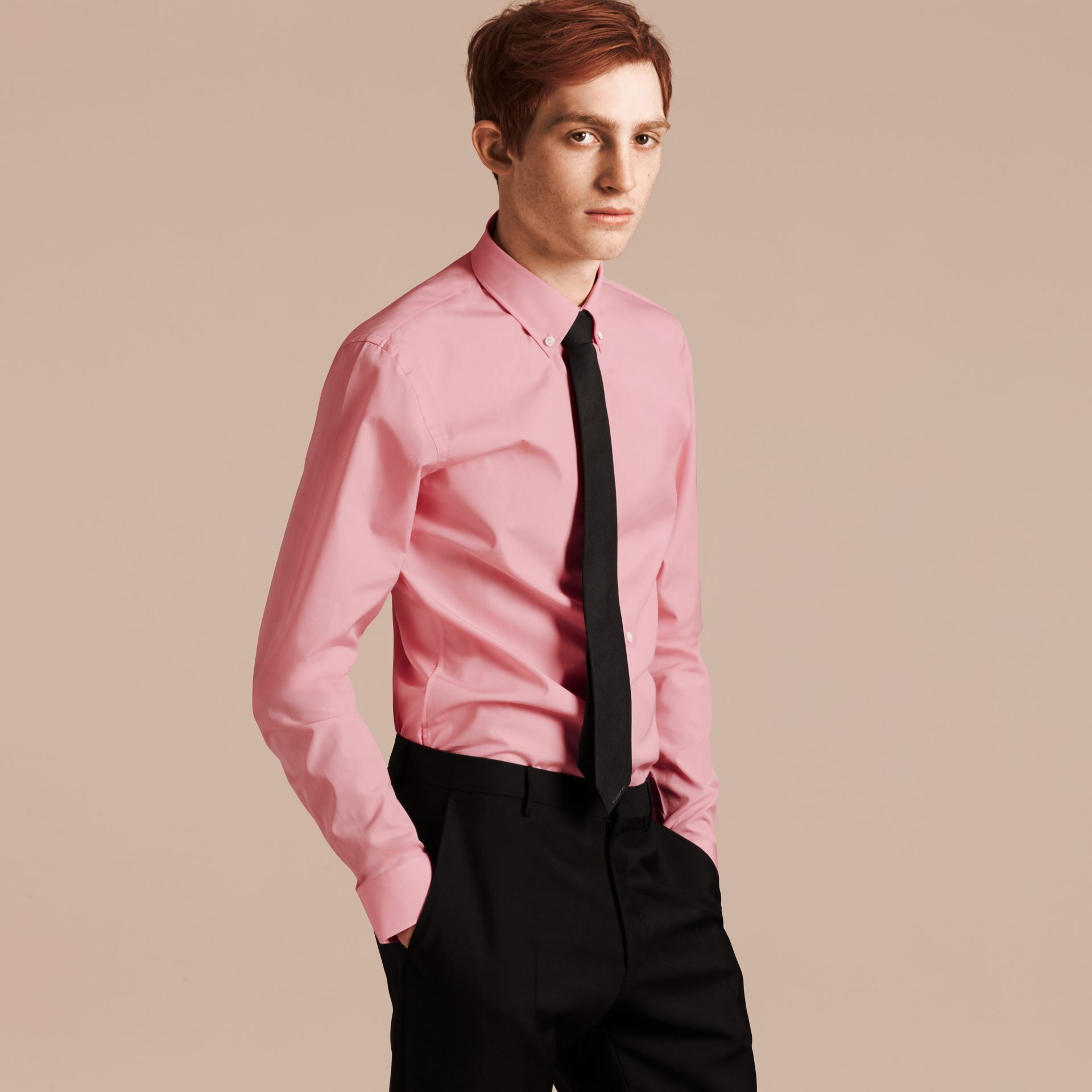 City pink Slim Fit Button-down Collar Cotton Poplin Shirt City Pink - gallery image 1