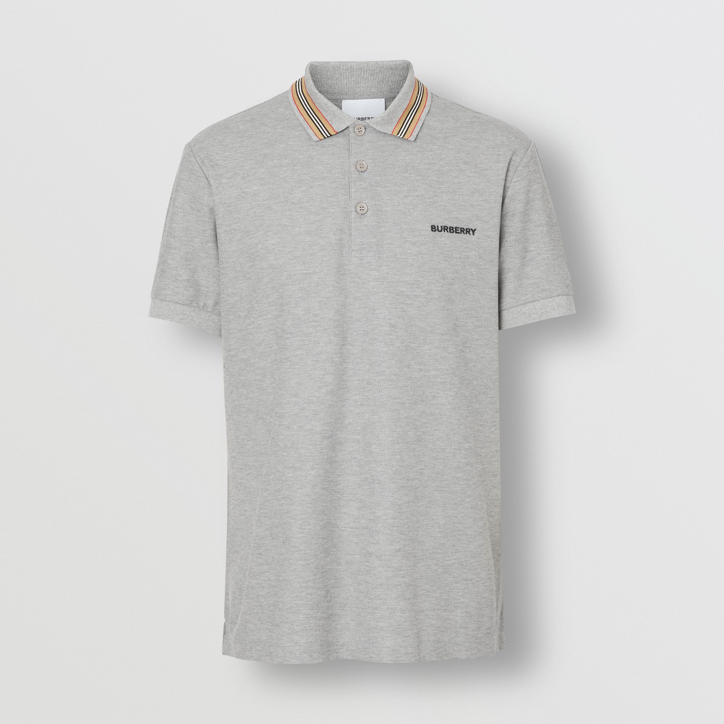 Icon Stripe Detail Cotton Piqué Polo Shirt in Pale Grey Melange - Men | Burberry - 4